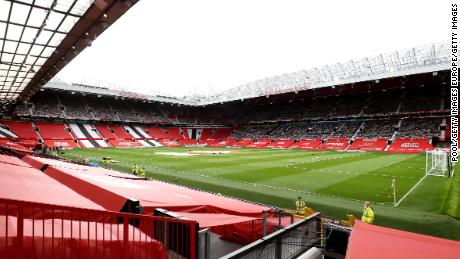 MANCHESTER, ENGLAND - JULY 22: General view inside the stadium prior to the Premier League match between Manchester United and West Ham United at Old Trafford on July 22, 2020 in Manchester, England. Football Stadiums around Europe remain empty due to the Coronavirus Pandemic as Government social distancing laws prohibit fans inside venues resulting in all fixtures being played behind closed doors. (Photo by Martin Rickett /Pool via Getty Images)