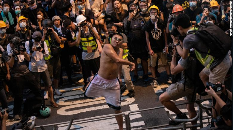 Hong Kong protester gets 21 months in prison for throwing eggs as city's judiciary comes under pressure to take hard line