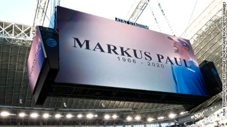 The Cowboys honor Paul before the start of the game against the Washington Football Team.