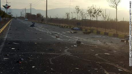 The sight of Fakhrizadeh's assassination in Absard, Iran, on Friday.