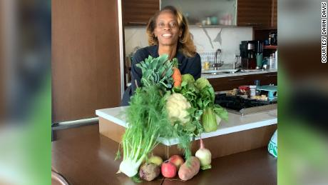 Editor-in-Chief of Bon Appétit Dawn Davis at home in her kitchen.