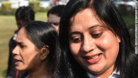 Lawyer Seema Kushwaha speaks to the media outside India's Supreme Court in January, 2020.