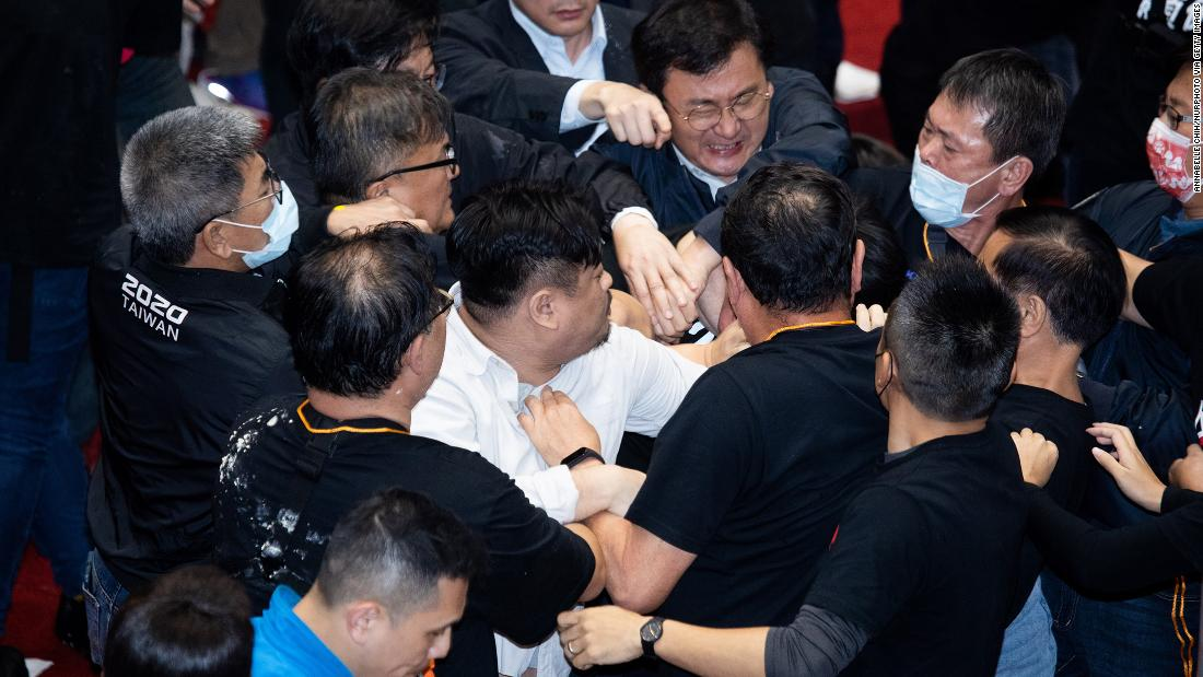 A fight broke out between lawmakers. Pig guts were thrown