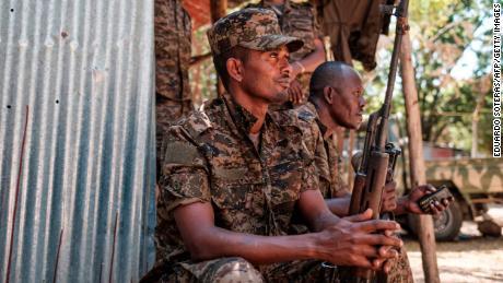 Ethiopian soldiers rest in Dansha, Ethiopia, on November 25, 2020.