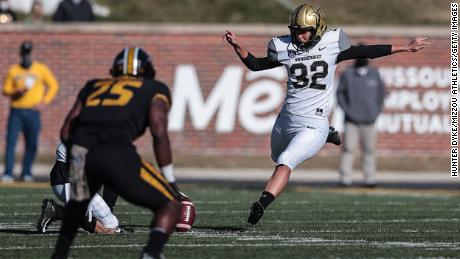 Sarah Fuller, #32 of the Vanderbilt Commodores, makes history on Saturday with second-half kickoff against the Mizzou Tigers at Memorial Stadium in Columbia, Missouri.