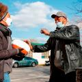 Volunteers distribute free turkeys to those in need on behalf of Chance The Rapper charitable foundation SocialWorks ahead of the Thanksgiving holiday in Chicago, Illinois, on November 23, 2020.
