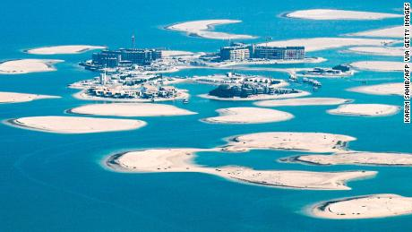 This picture taken on July 8, 2020 shows an aerial view of the one of the islands of the unfinished man-made World Islands archipelago off the Gulf emirate of Dubai, during a government-organised helicopter tour. (Photo by KARIM SAHIB / AFP) (Photo by KARIM SAHIB/AFP via Getty Images)
