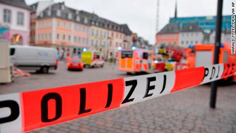 A square in Trier, Germany, is blocked off by the police after the incident Tuesday.