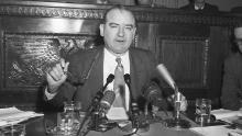 Sen. Joseph McCarthy questions Sen. Arthur V. Watkins (R-Utah) about a portion of the Special Senate Committee report recommending censure of the Wisconsin Republican.