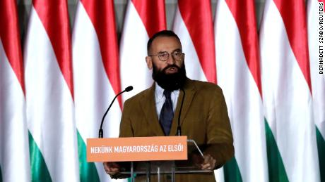József Szàjer, a senior member of Hungary's ruling Fidesz party, campaigns in Budapest ahead of the European Parliament elections in 2019.