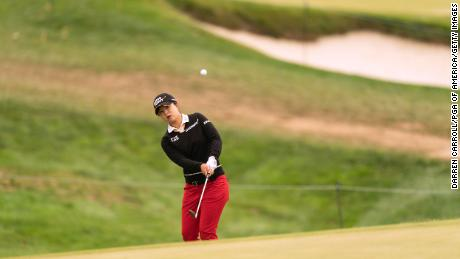 Kim chips onto the seventh green during the final round of the 2020 Women's PGA Championship.