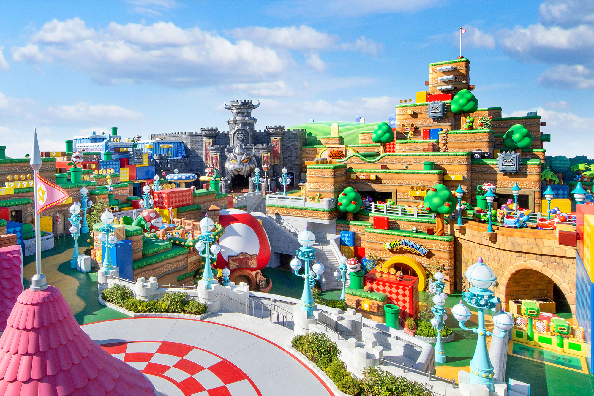 A shot of Super Nintendo World, complete but not yet open.