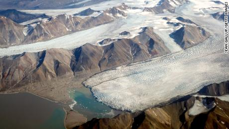 Melting glaciers are seen from a plane during a summer heat wave on Svalbard archipelago in Norway.