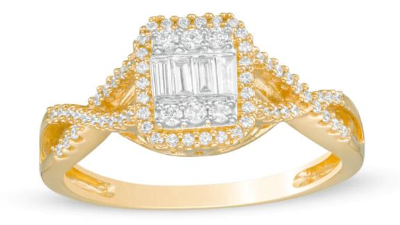 Baguette and Round Composite Diamond Octagonal Frame Twist Shank Engagement Ring