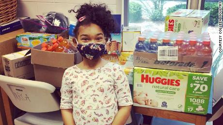 "Bethany Moultry, 6, and her mom launched ""Bethany's Happy Bags for the Homeless."""