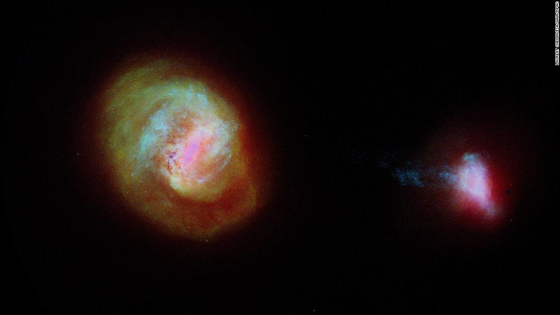 This diagram shows the two most important companion galaxies to the Milky Way: the Large Magellanic Cloud (left) and the Small Magellanic Cloud. It was made using data from the European Space Agency Gaia satellite.