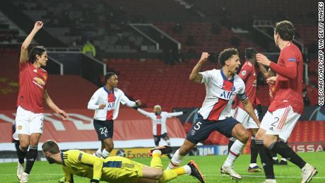 Marquinhos celebrates scoring against Manchester United.