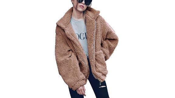 PrettyGarden Long Sleeve Zip Up Faux Shearling Coat