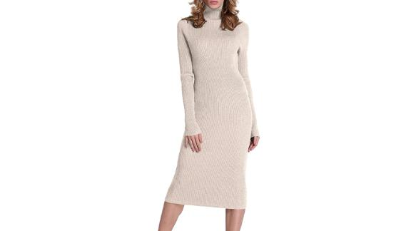 Rocorose Turtleneck Long Sleeve Knitted Sweater Dress