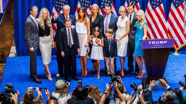 The Trump family poses for photos after Donald Trump announced his candidacy at Trump Tower on June 16, 2015 in New York City.