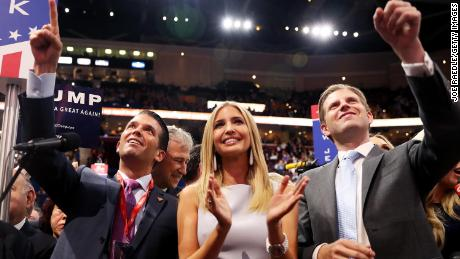 Donald Trump Jr., along with Ivanka Trump and Eric Trump, take part in the roll call in support of Republican presidential candidate Donald Trump during the Republican National Convention on July 19, 2016 in Cleveland, Ohio.