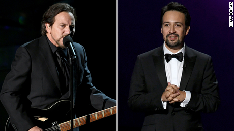 Rocker Eddie Vedder, left, and his Pearl Jam bandmates will join Lin-Manuel Miranda for the December 16 virtual fundraiser.