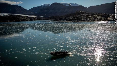 Ice melts near  Nordenskjodbreen glacier on the Norwegian Arctic Svalbard archipelago in August.