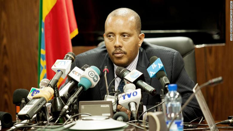 In a file photo from June 2016, Getachew Reda, Ethiopia's former communications minister and a member of the TPLF executive council, speaks during a press conference in Addis Ababa.