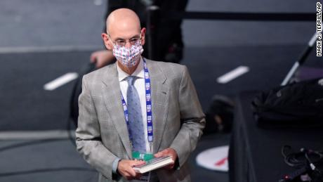 NBA Commissioner Adam Silver attends Game 2 of basketball's NBA Finals between the Los Angeles Lakers and the Miami Heat on Friday, Oct. 2, 2020, in Lake Buena Vista, Fla.