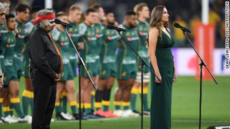 National rugby players sing Australia's national anthem in Indigenous language for first time before match