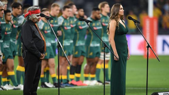 Editorial use onlyMandatory Credit: Photo by DEAN LEWINS/EPA-EFE/Shutterstock (11176484b)Olivia Fox sings Australia's National Anthem in the traditional Era language during the Tri Nations rugby match between Argentina's Pumas and Australia's Wallabies at Bankwest Stadium, Sydney, Australia, 05 December 2020.Australia vs Argentina, Sydney - 05 Dec 2020