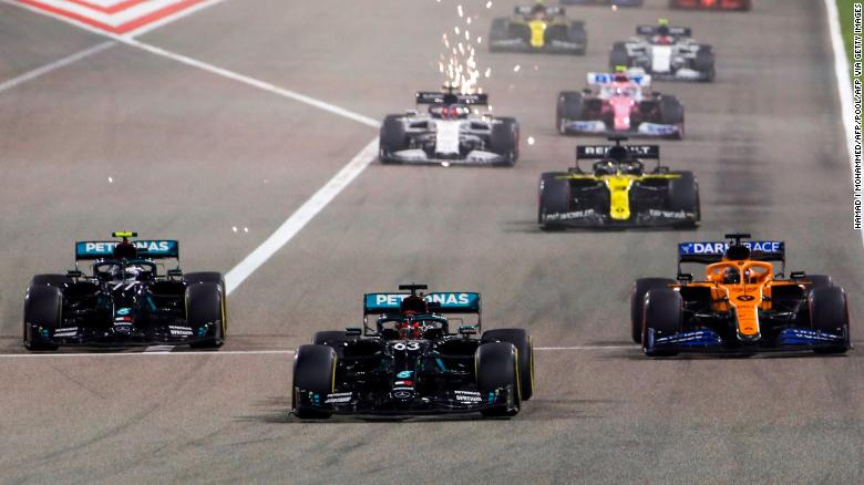 George Russell, center, led for much of the Sakhir Grand Prix.