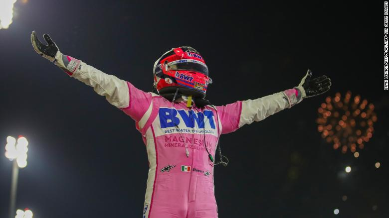 Sergio Perez celebrates his winning his first Grand Prix on Sunday, December 6.