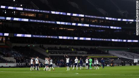 A general view as Tottenham   players celebrate with its fans at the end of the Premier League match between Tottenham Hotspur and Arsenal.