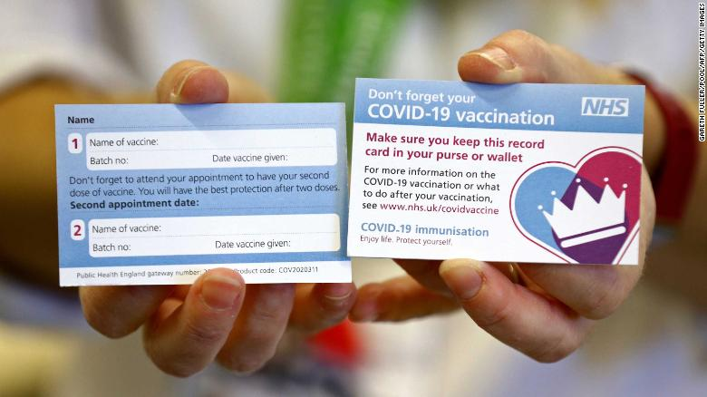 This is what the UK's Covid-19 vaccination cards will look like