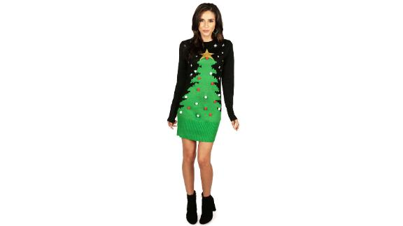 Tipsy Elves Pom Christmas Tree Sweater Dress