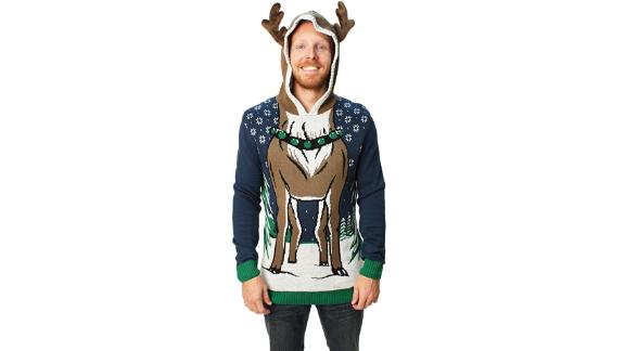 Ugly Christmas Sweater Company Store Reindeer Hooded Sweater