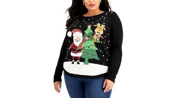 Karen Scott Plus-Size Embellished Santa Sweater