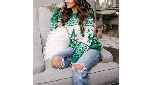 Exlura Patterns Reindeer Ugly Christmas Sweater