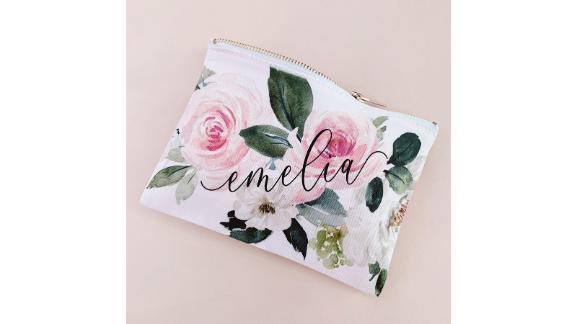 Custom Floral Makeup Bag