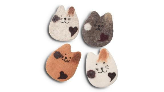 Absorbent Handmade Cat Coasters, Set of 4