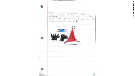 Scout Swanson, 7, of Atlanta, wrote a sample letter that kids can write Santa if they test positive so that he'll know to take precautions in their homes on Christmas Eve.