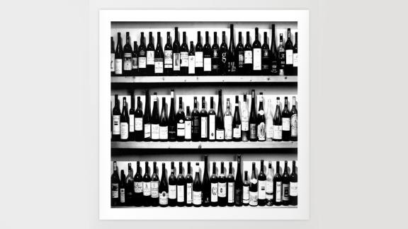 Society6 Wine Bottles in Black-and-White Print