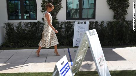 First lady Melania Trump arrives to cast her vote at a polling place in Palm Beach, Florida on November 3.