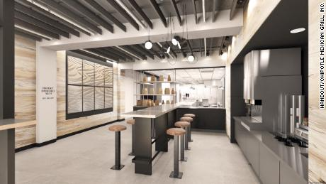 The interior of Chipotle's first-ever digital-only restaurant.