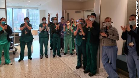 Medical staff at NYU Langone Tisch Hospital cheered for Gerson after he left on April 24.