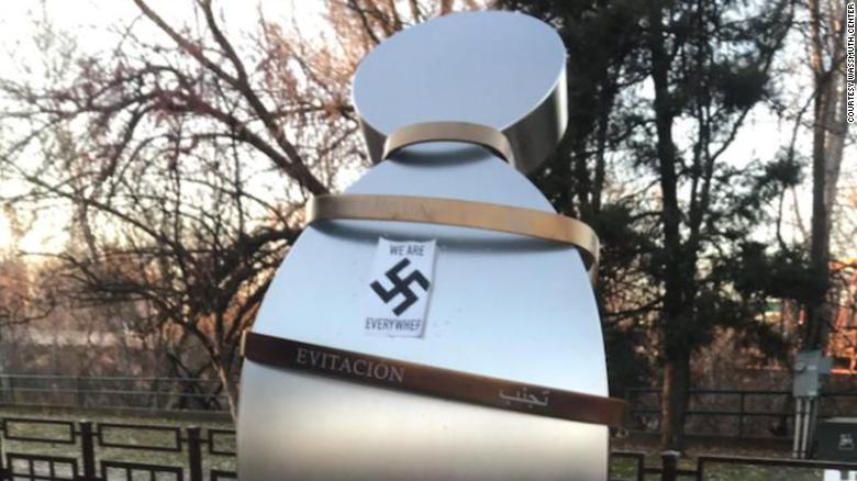 Anne Frank memorial vandalized with swastikas