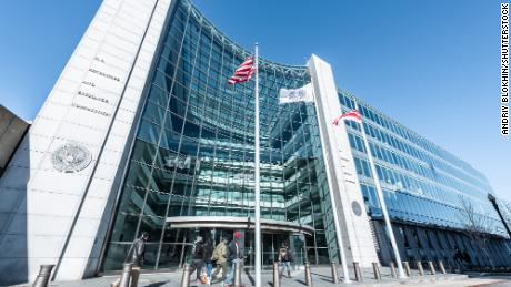The United States Securities and Exchange Commission SEC entrance in Washington DC, USA on January 13, 2018.