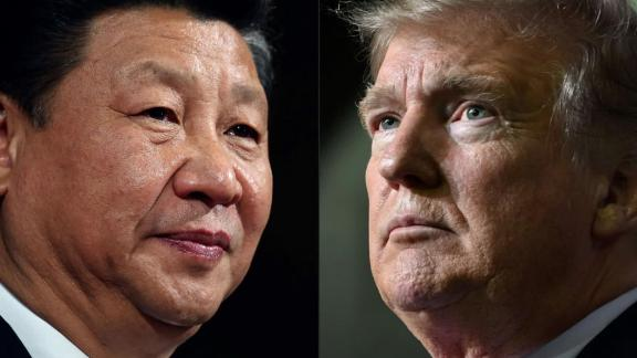A split of Chinese President Xi Jinping and US President Donald Trump.