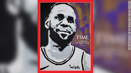The cover of Time for Athlete of the Year features a LeBron James painting by 14-year-old Tyler Gordon